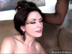 Horny sluty milf always wanted to have threesome with two tough black guys and now she gets her...